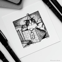 Gift - Day 28 Inktober 2018 - Mini Cat Ink Drawing