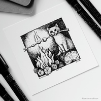 Scorched - Day 19 Inktober 2018 - Mini Cat Ink Drawing
