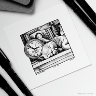 Clock - Day 14 - Inktober 2018 - Mini Cat Ink Drawing