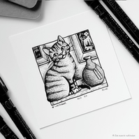 Breakable - Day 20 Inktober 2018 - Mini Cat Ink Drawing