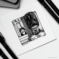 Guarded - Day 13 Inktober 2018 - Mini Cat Ink Drawing