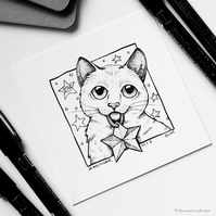 Star - Day 8 Inktober 2018 - Small Cat Drawing