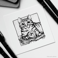 Precious - Day 9 Inktober 2018 - Small Cat Drawing