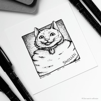 Swollen - Day 17 Inktober 2018 - Mini Cat Ink Drawing