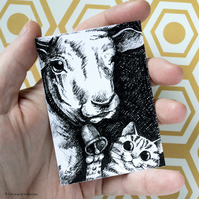 Cat and Cow ACEO - Inktober 2019 - Day 1 - Ink Drawing Pen Art
