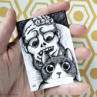 Zombie and Tuxedo Cat ACEO - Inktober 2019 - Day 2 - Ink Drawing Pen Art