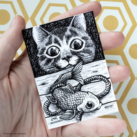 Curious Cat and Fish ACEO - Inktober 2019 - Day 3 - Ink Drawing Pen Art