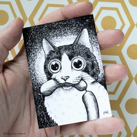 Naughty Tuxedo Cat ACEO - Inktober 2019 - Day 4 - Ink Drawing Pen Art