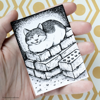 Sleepy Cat and Bricks ACEO - Inktober 2019 - Day 5 - Ink Drawing Pen Art