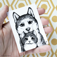 Tuxedo Cat and Husky Dog ACEO - Inktober 2019 - Day 6 - Ink Drawing Pen Art