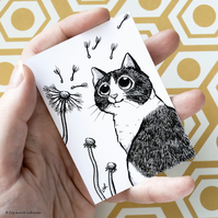 Tuxedo Cat Dandelion Clocks ACEO - Inktober 2019 - Day 8 - Ink Drawing Pen Art