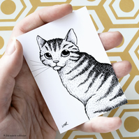 Tabby Cat ACEO - Inktober 2019 - Day 10 - Ink Drawing Pen Art