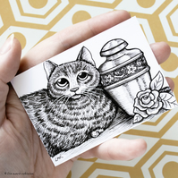 Cat In Memorium Urn Ashes ACEO - Inktober 2019 - Day 13 - Ink Drawing Pen Art