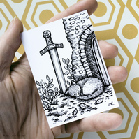 Sword in Stone Sleeping Cat ACEO - Inktober 2019 - Day 15 - Ink Drawing Pen Art