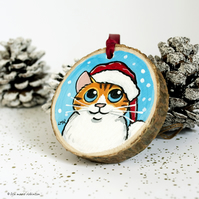 Orange Tabby Santa Cat - Hand Painted Wooden Christmas Tree Decoration