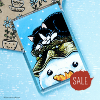 SALE - Sleeping Cat and Snowman Fridge Magnet - Jumbo