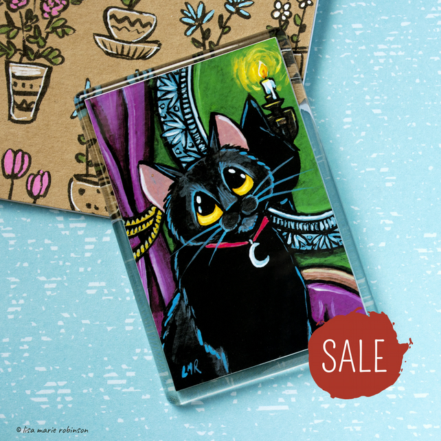 SALE - Black Cat Gothic Familiar Fridge Magnet - Jumbo