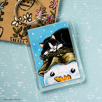 Sleeping Cat and Snowman Keyring - Large