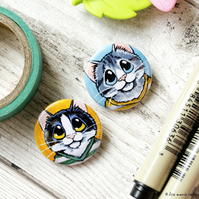 Cats in Shirts 25mm Badges - Pack of 2