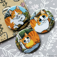 Relaxing Ginger Cats 38mm Three Badge Pack - 3 Designs