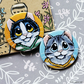Cats in Striped Shirts 38mm Two Badge Pack - 2 Designs