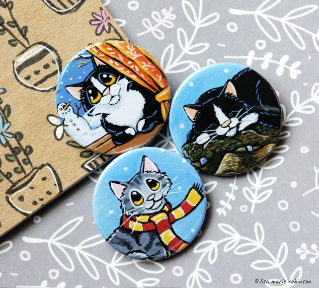 Winter Cats 38mm Badge Pack - 3 Designs