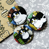 Cats and Books Badges - 38mm - Set of 3