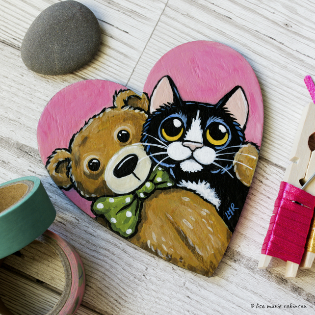Tuxedo Cat and Teddy - Hand Painted Heart Shaped Magnet