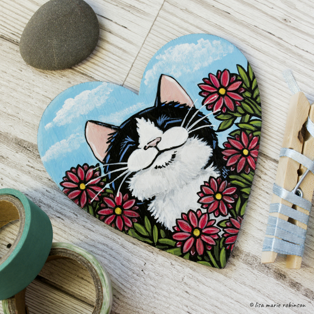 Happy Cat and Flowers - Hand Painted Heart Shaped Magnet