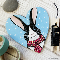 Winter Bunny Rabbit - Hand Painted Heart Shaped Magnet