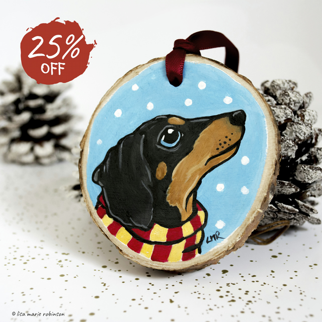 Sausage Dog Festive Dachshund - Hand Painted Wooden Christmas Tree Decoration