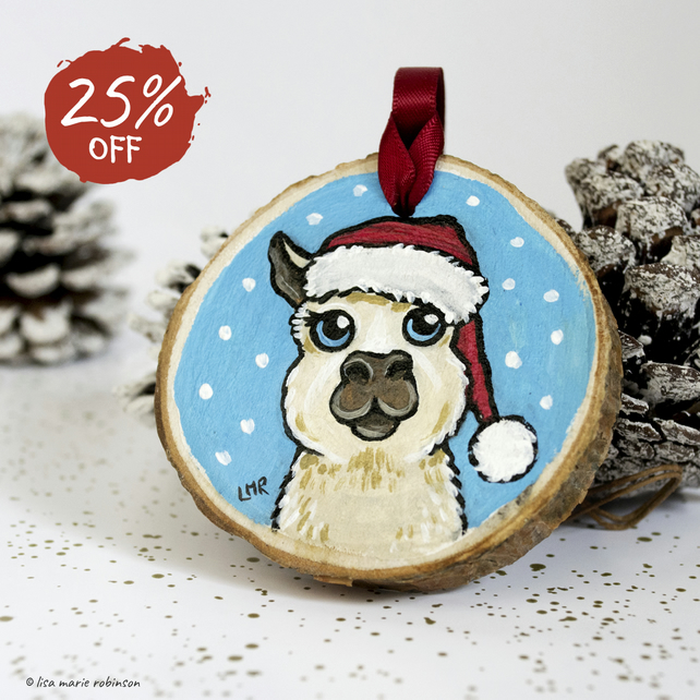 Hand Painted Festive Llama - Natural Pine Wood Hanging Decoration
