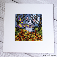 Tabby Cat with Autumn Leaves Mounted Print
