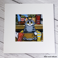Tabby Cat in a Messy Drawer Mounted Print