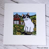 Black and White Farm Cat Mounted Print