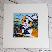 Orange and White Sailor Cat by the Sea Mounted Print