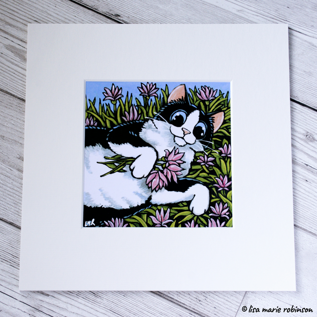 Black and White Cat Pink Flowers Mounted Print