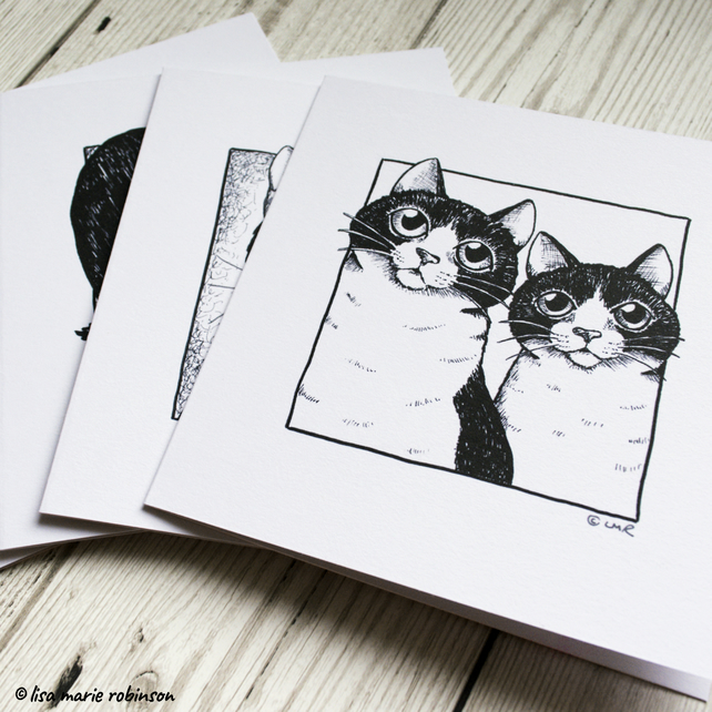 Set of 4 Cat Greeting Cards - Tuxedo Cats