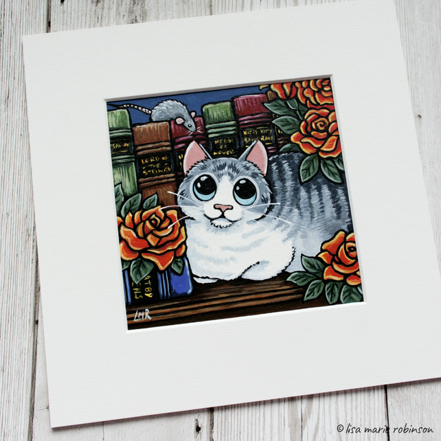 "White & Grey Tabby Cat with Books & Roses Painting - Mounted size 8"" x 8"""