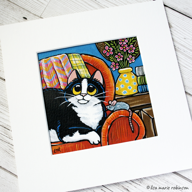 "Black and White House Cat with Mouse Painting - Mounted size 8"" x 8"""