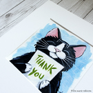 Thank You Black & White Cat - Original Acrylic Painting 6x6