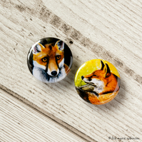 Red Fox 25mm Button Badges - Pack of 2