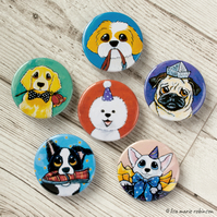 Assorted Dogs 38mm Button Badges - 6 Pack