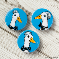 Funky White Ducks 38mm Button Badges - Triple Pack