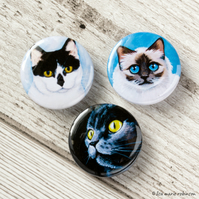 Assorted Cats 25mm Button Badges - Triple Pack