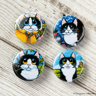 Assorted Tuxedo Cats 25mm Button Badges - 4 Pack