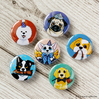Assorted Dogs 25mm Button Badges - 6 Pack