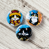 Winter Tuxedo Cat 25mm Button Badges - Triple Pack