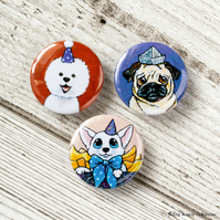 Dogs Wearing Hats 25mm Button Bages - Triple Pack