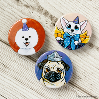 Dogs Wearing Hats 38mm Button Badges - Pack of 3